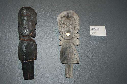 Wood figures at the exhibition