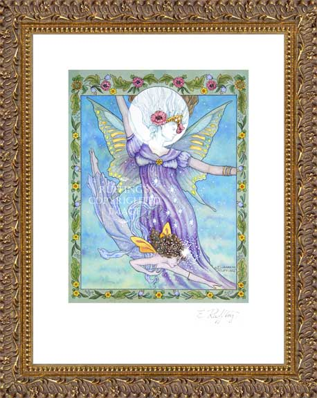"""Moon and Star"" Fairy Print by Elizabeth Rufing, Framed"