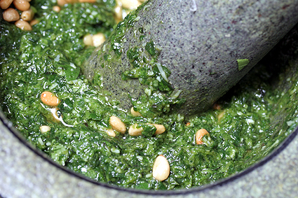 pesto in mortar
