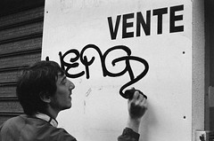Drouot ext. jour (gguillaumee) Tags: street morning bw paris france film night drunk fun graffiti friend mood belleville tag illford nikonf80 weng 3200iso vandalisme