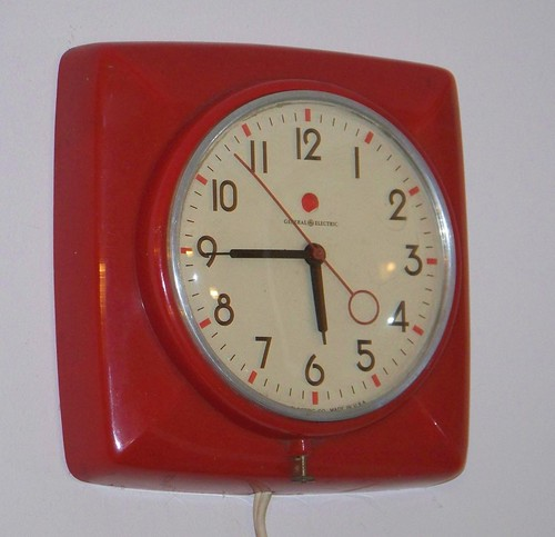 old red clock electric wall vintage hands general time antique watch