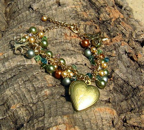 Gold Plated Locket Charm-Bracelet With Swarovski Pearls and Swarovski Crystals