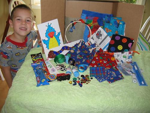 S sending stuff to his swap buddy Aaron