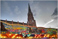 Amusement park - 3 (zehawk) Tags: church germany munich bavaria market fair amusementpark neogothic hdr auerdult mariahilfkirche mariahilfplatz