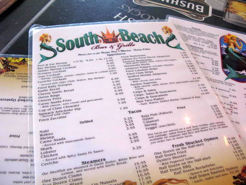Menu at South Beach in OB
