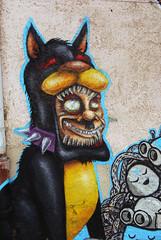 A nazi dobermann (mrzero) Tags: dog streetart detail eye art colors face lines animal wall mos skulls effects graffiti mural paint bell character nazi style poland meeting spray human styles colored graff wroclaw aryan cfs dobermann ciah mrzero meetingofstyles pixelpancho