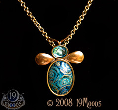 BEE UNIQUE Vintage Collage Necklace by 19Moons Retro SteamPunk BLUE BLING (19moons) Tags: blue black eye clock collage female bug insect spiral fossil gold weird fly diy necklace cool wings movement aqua crystal handmade spirit antique teal ooak air beetle flight goddess victorian surreal indy jewelry retro jewellery bee chain artnouveau fantasy artdeco ammonite timetravel swarovski etsy elegant clockwork boho gears aviator bohemian artisan stylish steampunk neovictorian rubies vintagebutton vintagewatch uniquegift steamteam goldsterlingsilverbrassmetal antiquewatchparts goldencompass19moonsetsy