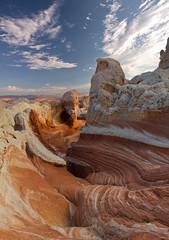 The Cusp of Time (caddymob) Tags: sandstone time layers swirl geology redrock potofgold coyotebuttes stateborder 20megapixel eons nohdr diamondclassphotographer flickrdiamond whitepocket theperfectphotographer vertorama arizonapassages