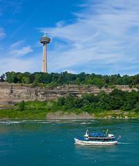 Skylon Tower and Maid of the Mist (Walt K) Tags: newyork ontario canada unitedstates niagara falls american waterfalls maidofthemist skylontower waltk