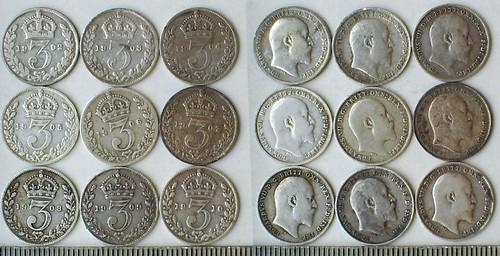 Edward VII Threepence Set (1902-1910)