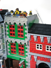 Upper floors (Dunechaser) Tags: buildings town lego zombie garage gang modular fireman biker firemen firestation zombies firehouse firefighter mechanic firefighters diorama bikers mechanics dioramas worldwarz brickarms apocalego thebrothersbrick brothersbrickcom apocafest