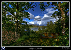 My trip to Scotland (7/20): Angus's Garden - Lur's Bench [backgroundstory!] (Klaus_GAP - taking a timeout) Tags: trees sky clouds garden bench geotagged scotland holidays angus scenic shade loch hdr hdri photomatix mywinners abigfave platinumphoto anawesomeshot goldstaraward lursbench angussgarden