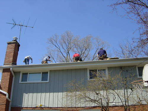 Roofing crew at work by I Bird 2