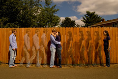 Chris & Jessica Engagement - Falling (Auzigog) Tags: park boy summer woman man cute love girl oregon photoshop fence bench walking outdoors engagement hugging holding hug kiss couple dress adorable posed marriage ring jeans cuddle proposal clone cuddling propose engagementphoto approaching fallinginlove lightroom oregoncity flowery engagementsession d40