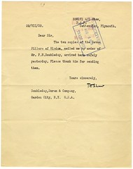 T.E. Lawrence acknowledges receipt ...