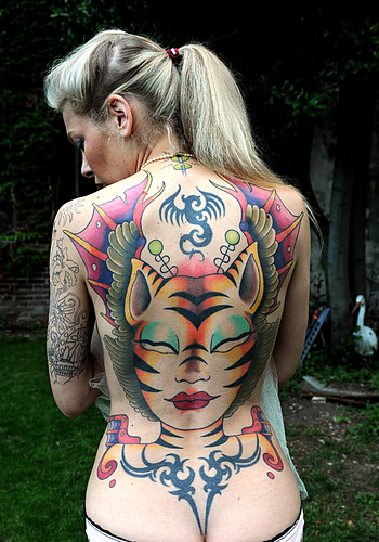 space tattoo. Tiger Bird Space Girl Tattoo