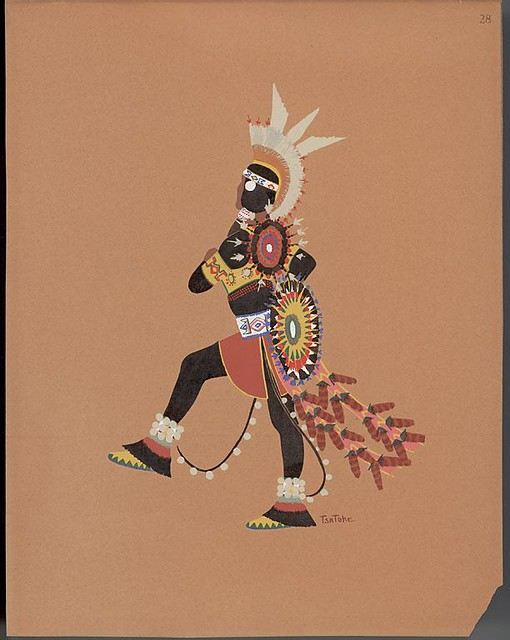Warrior wearing black clothing, 1929 - illustration by Monroe Tsatoke
