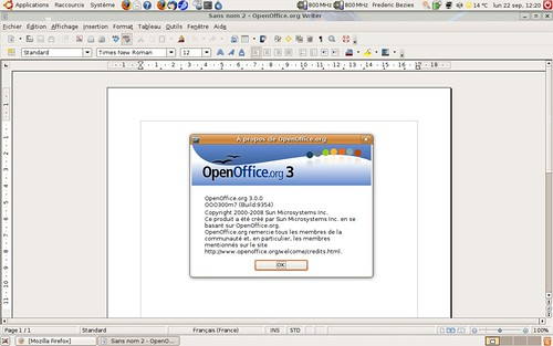OpenOffice Writer 3.0rc2 sous Ubuntu 8.04.1 LTS