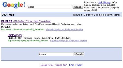Google-Index von 2001: INJELEA