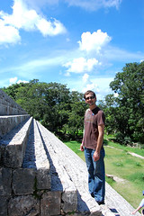 Josh on pyramid steps @ Uxmal