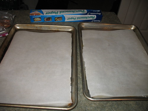 2 lined cookie sheets