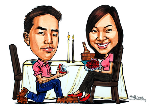 Couple caricatures proposal at a restaurant with diamond rings and flowers