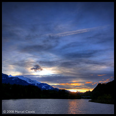 Fhn (Marcel Cavelti) Tags: blue sunset sun mountain lake snow water clouds photoshop landscape schweiz switzerland stormy explore ems hdr fhn graubnden grisons photomatix tamins domatems abigfave aplusphoto boatislandpoetry