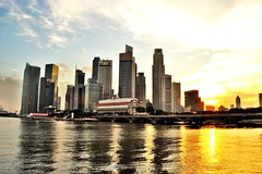 Sunset at CBD of Singapore (nattu) Tags: sunset nikon singapore cbd raffles builidings d90 nattu