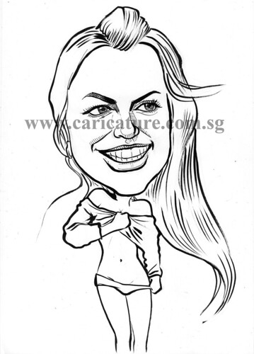 Celebrity caricatures - Britney Spears ink watermark