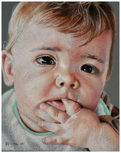 Colored pencil drawing entitled Emre at 7 Months