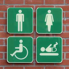 Male Female Disabled Babies (Leo Reynolds) Tags: signrestroom wheelchair canon eos 40d 0008sec f45 iso100 140mm 0ev groupwheelchairs xleol30x hpexif xratio1x1x xsquarex xxx2008xxx sign