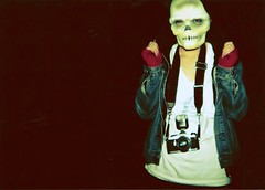 (katiecooperx) Tags: park uk girl face night dark manchester skeleton holga pentax flash jacket midnight denim late 135 ketamine mittens eccles flashgun holga135 pentaxsuperme skeletonmask