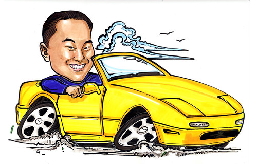 Car Caricature Mazda  MX5