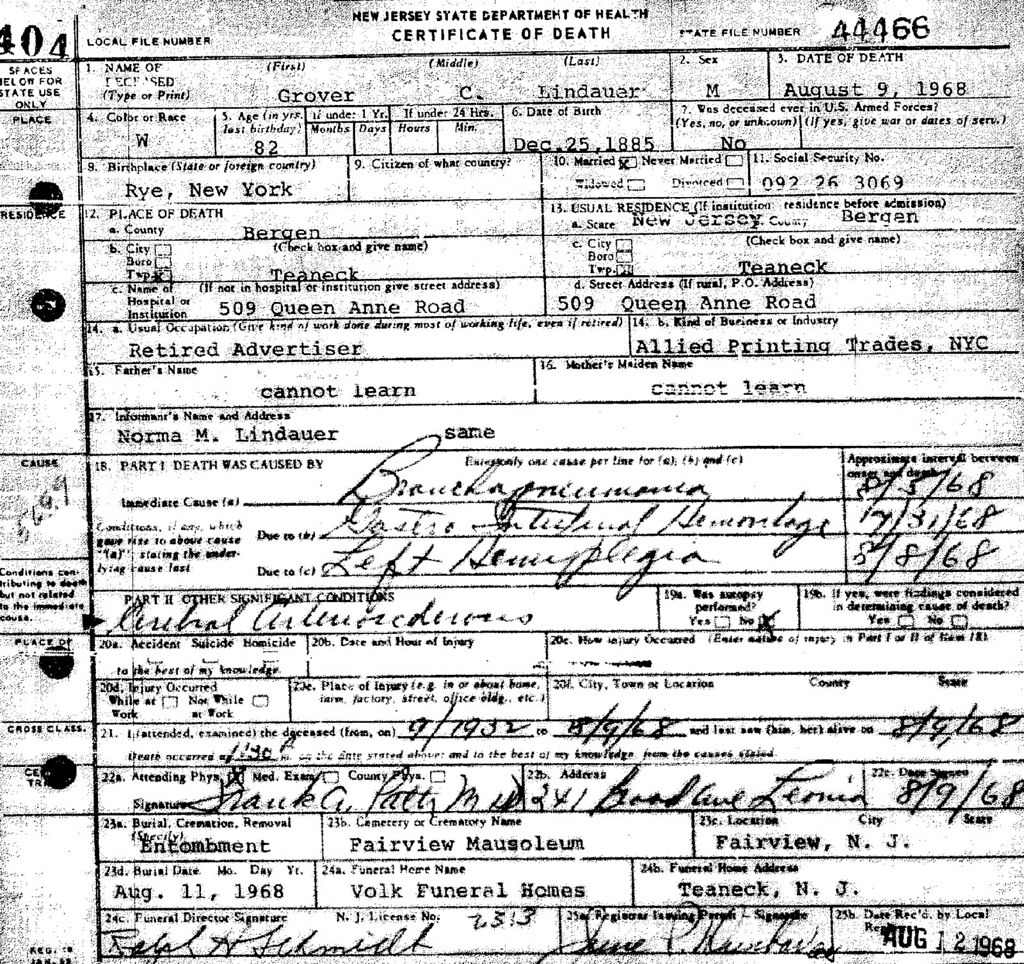 Grover Cleveland Lindauer (1885-1968) death certificate