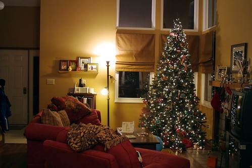 living room, rearranged and Christmas added.