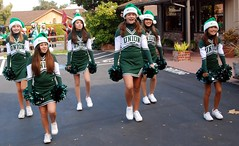 Union Middle School Cheerleaders Stepping (Tex Texin) Tags: california christmas xmas school white holiday green girl female children outdoors march dance los athletic high jump education parkinglot san uniform outdoor union jose gatos jr skirt parade teen skool cap stepping marching junior childrens practice cheer tween cheerleader middle gym santahat middleschool physical pompom whitesneakers