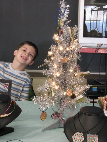 My helper with my necklace tree.
