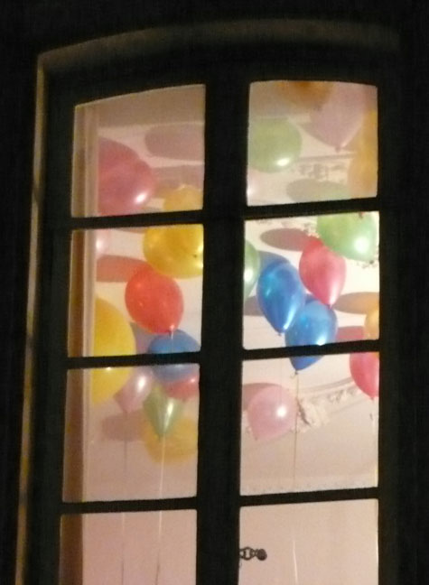 Paris ceiling window balloons birthday party