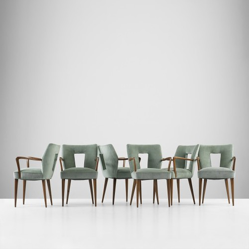Paolo Buffa, set of six armchairs form Hotel Bristol, Merano