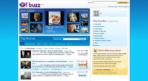 Screenshot of Yahoo! Buzz