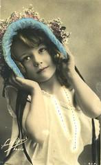 Vintage Postcard ~ (chicks57) Tags: flowers bw dog art collage sepia children child angels aceo tinted littlegirlsgirl angelatc hateaster