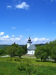 Krahule, Slovakia - at the 'heart of Europe' (TransylvaniaGuide) Tags: blue trees sky green church nature weather clouds seasons heart centre central 2006 environment slovensko slovakia slovak centraleurope kremnica heartofeurope 2006photos cotcbestof2006 aplusphoto almostanything krahule landscapedreams