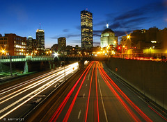 Mass Pike at Sunset (amythyst_lake) Tags: city longexposure bridge sunset boston skyline night cityscape massachusetts lighttrails masspike johnhancockbuilding bostonist colorphotoaward