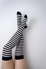 52 - 7 - stripey legs (Mrs Brownhorse / Baby Brownhorse) Tags: socks legs stripeysocks mrsbrownhorse cheepsocks blackmarksalloverthewall nowgoingtohavetopaintthewallagain neverbuycheepsocks