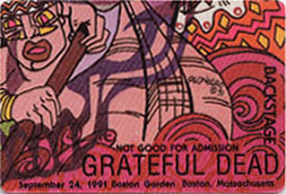 Grateful Dead - Boston Garden backstage pass: 9/24/91