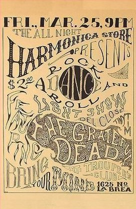 poster for Grateful Dead 3/25/66 Trouper's Hall or Trouper's Club or Trooper's Hall or Trooper's Club
