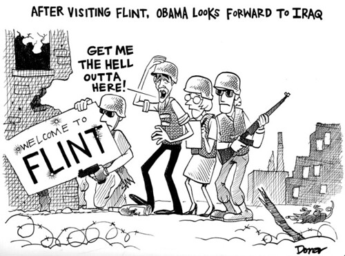obama in flint michigan cartoon