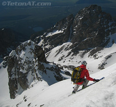 Steve Romeo skiing the Glacier Route on the Middle Teton