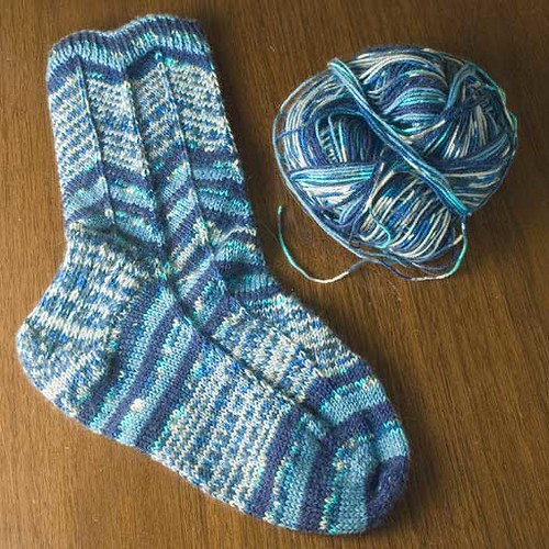 One finished sock, and the yarn left from it.