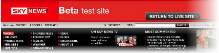 Sky News navigation bar